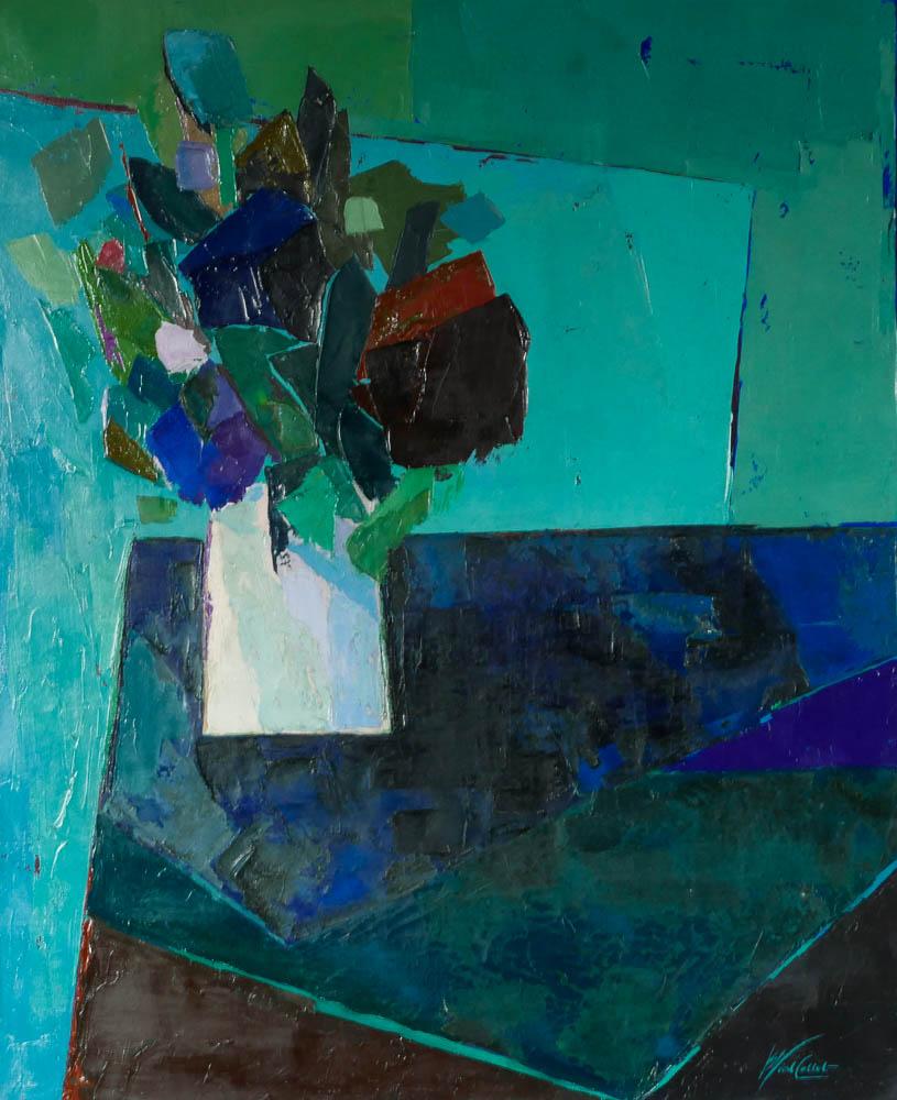 n°52 Bouquet nappe bleue (73x60) - Collection particulière