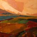 Champs Rouge et Jaune (130x130) - Collection Particulière